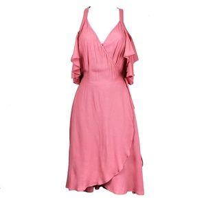 PRIVACY PLEASE Delta Pink Cold Shoulder Wrap Dress